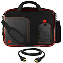 "VanGoddy Lava Red Laptop Messenger Bag for MSI Gaming Series / GT , WT , CX , WS , Series / Prestige Series 15""-17in + 12FT HDMI Cable"