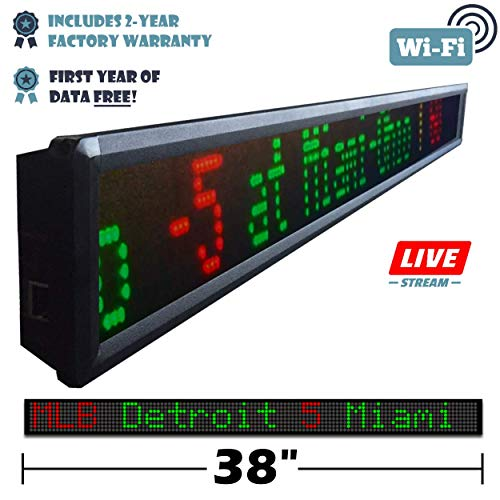 Fantasy Sportsticker LED Sign with Live Content, Displays Stats, Scores, Odds, Breaking News and Major Sports Coverage, 38