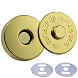 Bluemoona 50 Sets - Magnetic Purse Round Snap 3/4'' 18mm Clasps Closure Purse Handbag with Washer Gold