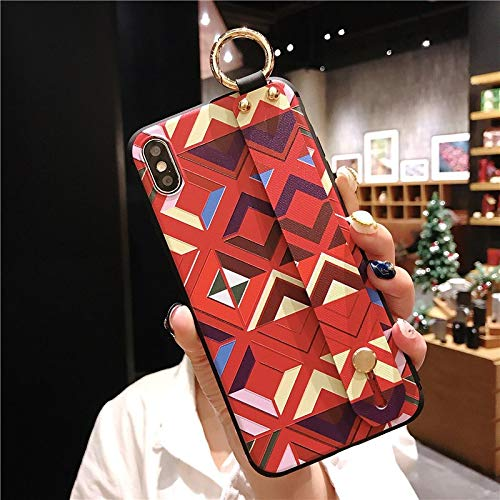 Maxlight Wrist Strap Soft TPU Phone Case for iPhone 7 8 Plus Case for iPhone X Xs max XR Vintage Flower Pattern Holder Case (C, for iPhone -