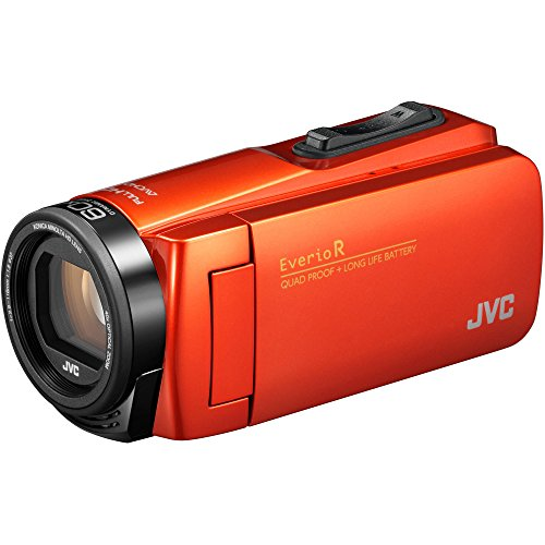 JVC Everio GZ-R460BUS Quad-Proof HD Camcorder with 40x Optical Zoom (Orange) + 37mm UV Filter + Flexible Tripod + Micro HDMI Cable + Card Reader + Fibercloth Bundle
