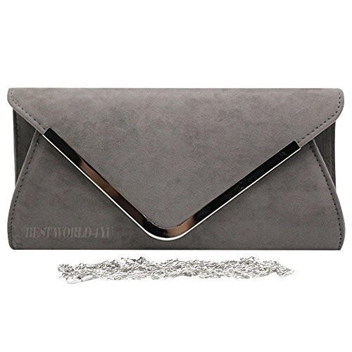 Party Hardcase Hand Womens Bag Clutch Trim Shoulder Suede Silver Envelope Grey Faux Wocharm A1qZ0w