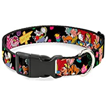 """Buckle-Down Plastic Clip Collar - Alice's Encounters in Wonderland - 1.5"""" Wide - Fits 13-18"""" Neck - Small"""