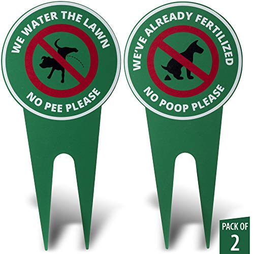 Humoristic No Pooping & No Peeing Durable Yard Signs Kit. Each Sign is Double Sided Printed. Made from Pure 3mm Aluminium ()