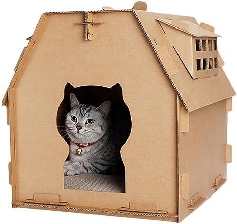AYWJ YAN Cartón Casa del Gato Rascador, Gato Corrugado Casa con ...