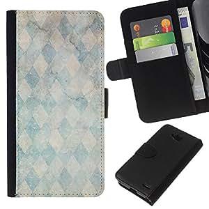 KLONGSHOP // Tirón de la caja Cartera de cuero con ranuras para tarjetas - Piedra de mármol patrón trullo - LG OPTIMUS L90 //