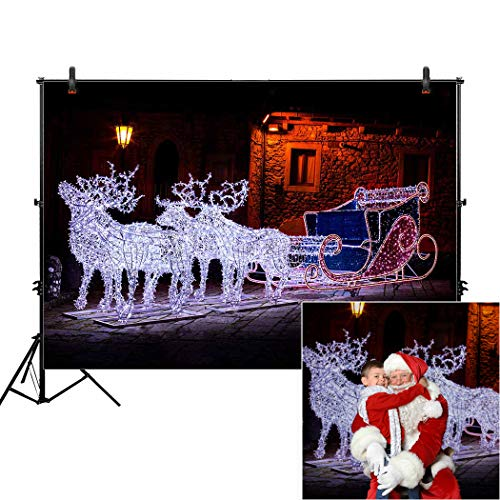 Allenjoy 7x5ft Christmas Reindeer Sleigh Holiday Backdrop for White Winter Xmas Kids Family Santa Claus Portrait Photography Garland Magic Night Street Background Newborn Baby Studio Photo Shoot Props