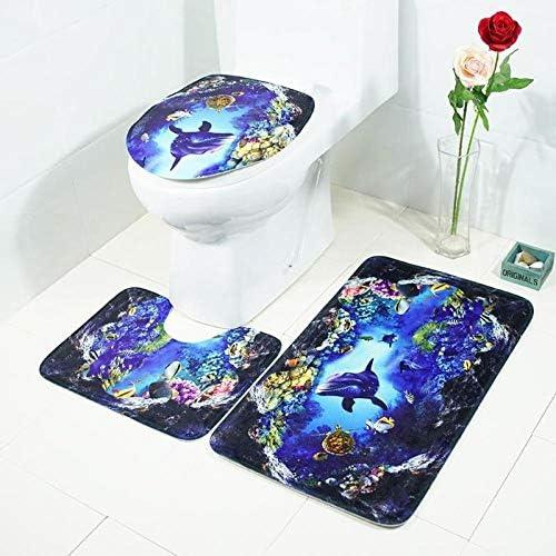 バスルームマットセット3ノンスリップバスルームラグ、マリンスタイルの便座U字型の輪郭パッド、ホームデコレーションギフト,G
