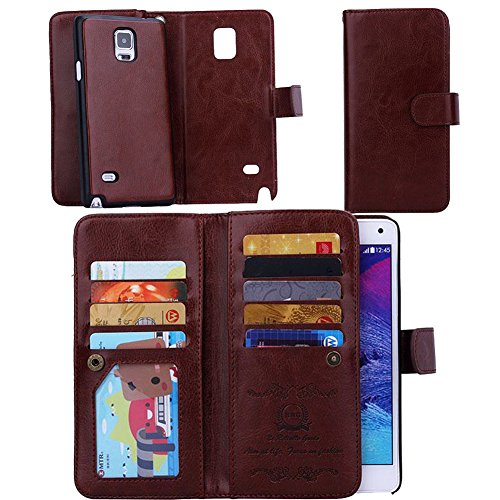 Eloiro Samsung Galaxy Note 4 Wallet Case, Multiple Credit Card Holder Slots Purse Case Magnet Detachable Back Cover Slim Folio Flip Holster Carrying Case [Wrist Strap] for Galaxy Note4 (Brown)
