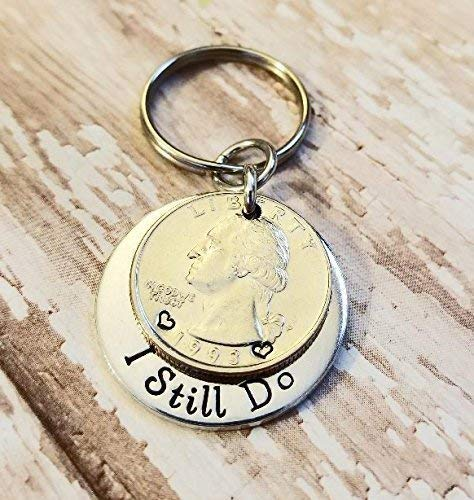 25 Years and I Still Do 25th Anniversary Gift 1993 or 94 Quarter Key Chain Personalized Options