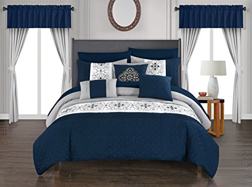 Chic Home Emily Comforter Set, King, Navy
