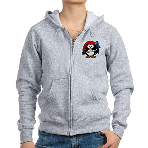 Truly Teague Women's Zip Hoodie Little Round Penguin - Pirate & Parrot - Light Steel, Medium