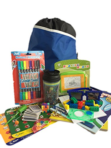 Travel Activity Bag Kit for Kids - Keep Children Busy on the Airplane or in the Car. For Boys or Girls Age 6-12. Backpack, Toys, Games, Crafts, Travel Cup and - Sunglasses Your Customize Own