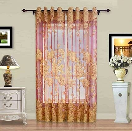 Amazon.com: JetkyShop Modern Tulle Window Curtain Embroidered Voile ...