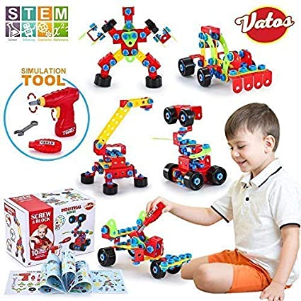 Boy Christmas Toy.Vatos Building Blocks Toy For Kids Stem Toys 550 Piece Building Blocks Screw Toy For 5 6 7 8 Year Old Educational Birthday Christmas Toy For