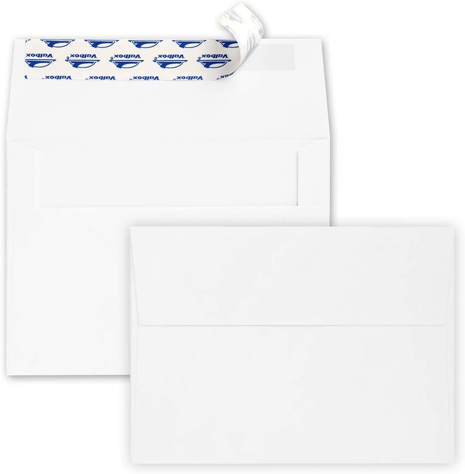 ValBox 200 Qty A7 Invitation Envelopes 5 x 7, 120GSM White Kraft Paper Envelopes for 5x7 Cards, Self Seal, Weddings, Invitations, Baby Shower, Stationery, Office, 5.25 x 7.25 Inches