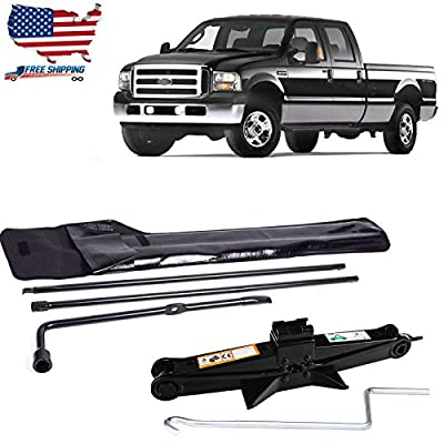 For Ford Super Duty F250 F350 F450 F550 (2003-2007) Car Tire Kit Lug Wrench Tools with Carry Case + 2 Ton Universal Scissor Jack with Crank Handle / 105-385mm Height