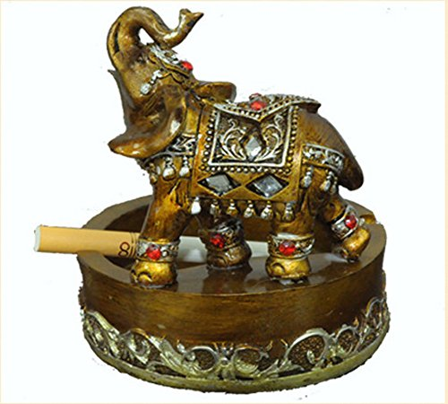 Resin Elephant Drill Ashtray Holder Container Home and Office Decor (elephant)