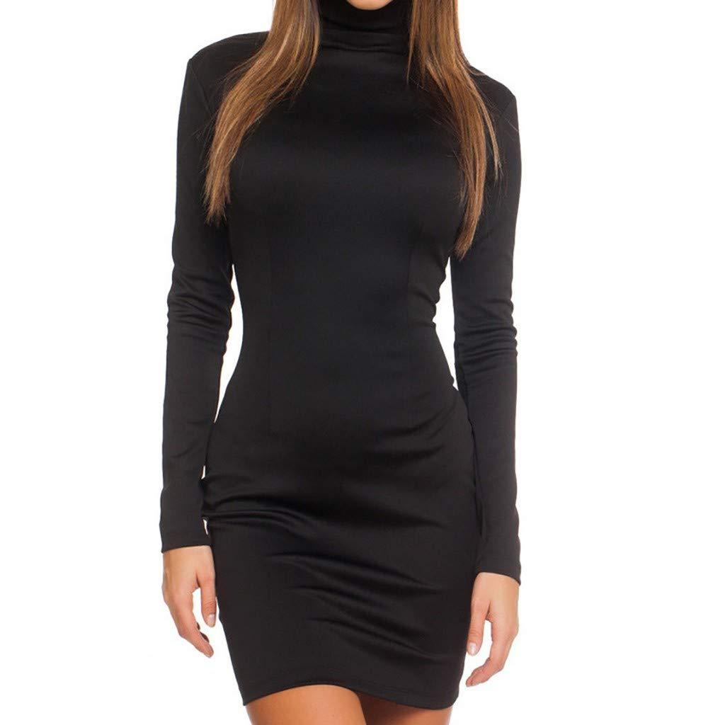 Libermall Women's Dresses Solid Long Sleeve Zipper Tight Evening Party Bodycon Dress Beach Sundress Black