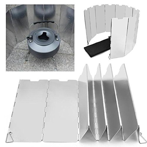 go2buy 10 Plates Folding Camping Picnic Cooker Stove Wind Screen Windshield