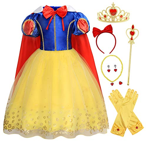 Cotrio Snow White Dress for Girls Princess Dresses Halloween Costume Outfit Size 6 (5-6 Years, Yellow, 120, Headband, Gloves, Tiara, Scepter, Necklace, Ring, Earrings)