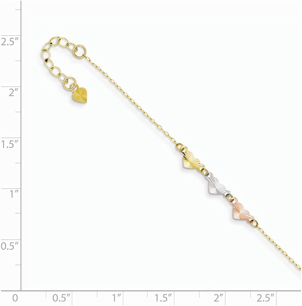 14K Tri-Color Adjustable Heart Anklet