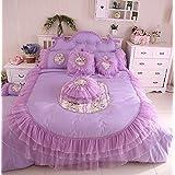 FADFAY Home Textile,Korean Bedding Set,Princess Bedding Queen Size,Girls Lace Ruffle Bedding Set