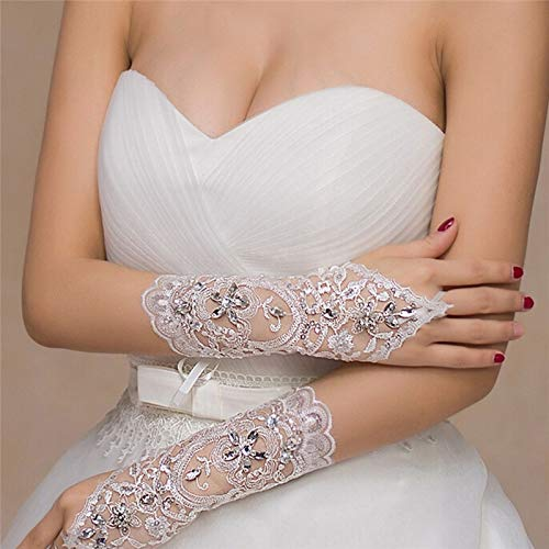 Accessories Bridal - 1pair White Ivory Rhinestone Short Bride Fingerless Lace Gloves Bridal - Bridal Bride Accessories Party Decorations Crystal Glove Bride Crown Stone Satin Headband Comb ()