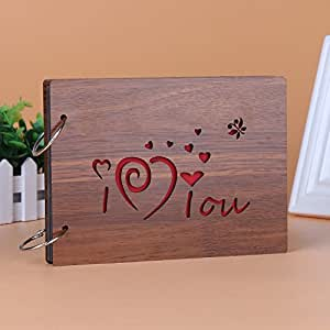 Veewon Vintage Wood Photo Album Anniversary Scrapbook 86 inches With 2pcs Photo Corner Sticker, Great Gifts (I love you)