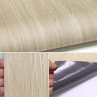 Peel and Stick wallpaper Vinyl Wood Film Home Decoration Premium sterile Vinyl flooring sheet Wallpaper Sticker Multi-usage Self-adhesive Contact Paper Film Removable Waterproof Ash Wood 24inch X 118i