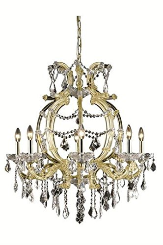 (Karla Gold Traditional 8-Light Hanging Chandelier Heirloom Handcut crystal in Crystal (Clear)-2380D28G-RC--28.5