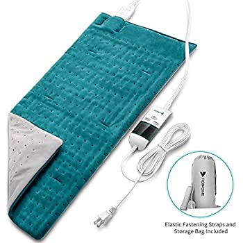 Heating Pad, Hosome Electric Heating Pad for Pain Relief with 8 Temperature Settings, Moist Therapy Heating Pad with 6 time Settings for Shoulder and Back, Fast Heating Pad with Ultra-Soft Flannel