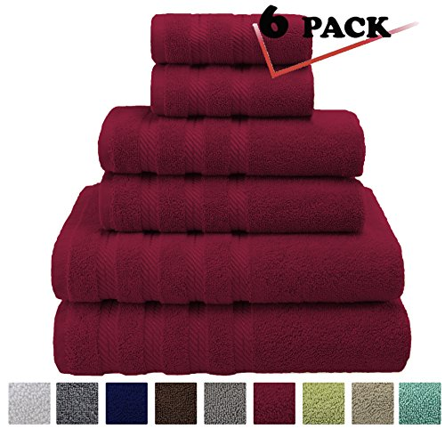 Premium, Luxury Hotel & Spa, 6 Piece Towel Set, Turkish Towels 100% Cotton for Maximum Softness and Absorbency by American Soft Linen, [Worth $72.95] (Bordeaux Red) Woven Leaf Ring
