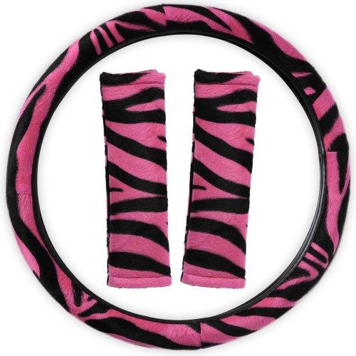 OxGord Velour Zebra Print Steering Wheel Cover, Hot (Pink Zebra Cover)