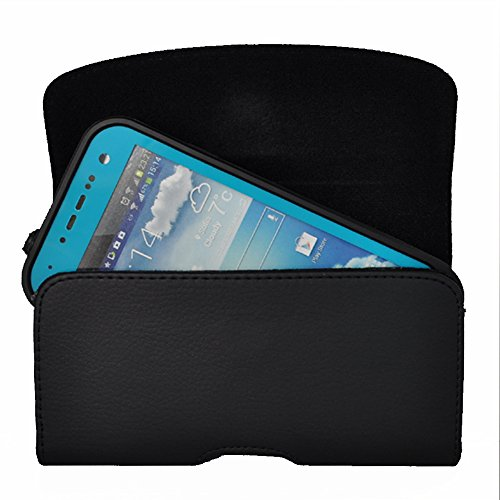 Kuteck® Black Leather Belt Holster Pouch Clip Fits For Samsung Galaxy S4 S3 Otterbox / Lifeproof / Mophie Juice Pack Air/Plus Case On. Includes A Black Stylus Pen