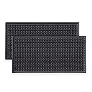 "Black Salon Mats, Barber Work Station Clippers Mat, Flexible PVC Heavy Duty Antiskid Bar Service Mat Cushion, Heat-Resistant Pad Tools for Styling Hair Dryers Hair Trimmers 12"" x 6"" x 0.4"" 2 Pack"