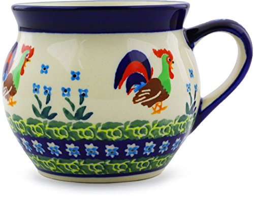 Polish Pottery Bubble Mug 11 oz (Country Rooster Theme) Signature UNIKAT + Certificate of - Polish Rooster
