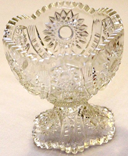 American Brilliant Crystal - Antique American Brilliant Cut Compote Glass Crystal