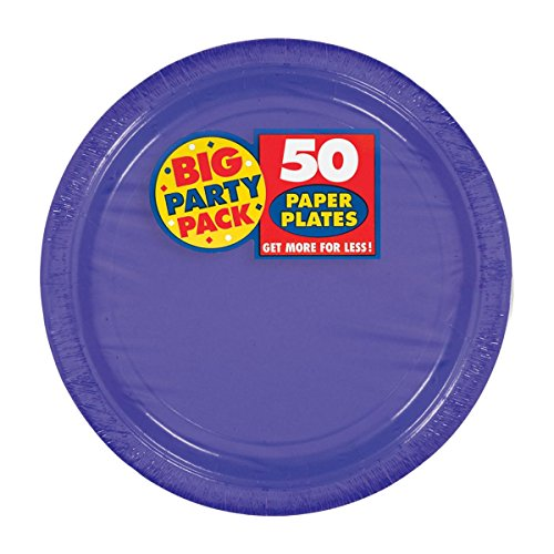 Amscan Big Party Pack 50 Count Paper Dessert Plates, 7-Inch, New Purple