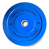 Body Revolution Olympic Rubber Bumper Weight Plates Coloured 2' Discs for Barbells & Crossfit (5kg -...