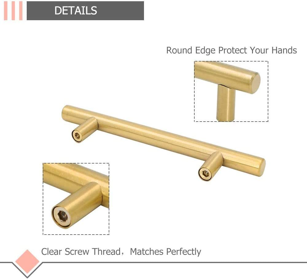 LONTAN LS201GD Lot de 15 poign/ées de porte de tiroir en laiton bross/é Dor/é hole centers: 64mm acier inoxydable Brushed Brass