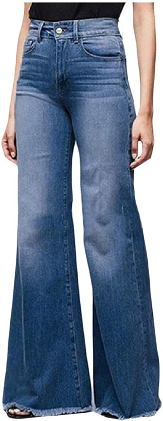 Nicellyer Womens High Waisted Bell Bottom Pants Casual Loose Denim Jeans