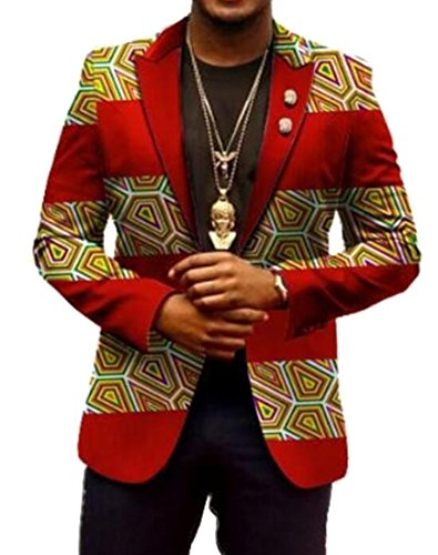SYTX Mens Vintage Blazer Africa Print Dashiki Suit Jacket Coat Outwear 13 L by SYTX-men clothes