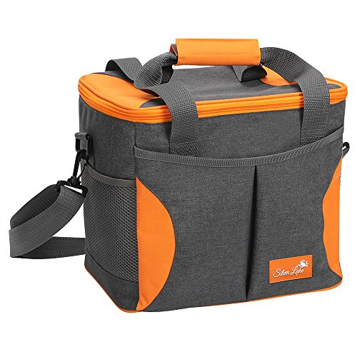 SERISIMPLE Large Soft Cooler Bag Collapsible Insulated Picnic Bag Portable Adult Large Lunch Bag Insulated Grocery Shopping Bags Leak Proof Liner with Sliver Lake Logo (Grey/Yellow, 24 Can)