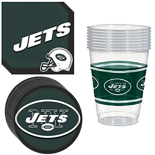 New York Jets Party Pack Including Plates, Cups and Napkins - 8 Guests