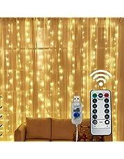 BINJCE Łańcuch świetlny do zasłon, 300 diod LED 3 m * 3 m, 8 trybów oświetlenia, niskie napięcie 5 V, dekoracja okna, Boże Narodzenie, ślub, urodziny, dom, patio, wodoodporna IP65 ciepła biel