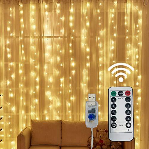 BINJCE – Guirnalda de luces (300 ledes, 3 m x 3 m, 8 modos de iluminación, bajo voltaje, 5 V, decoración de ventanas…