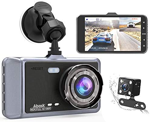 Abask Dual Dash Cam Front and Rear for Cars Dashboard Camera 1080P 4 Inch LCD Screen Driving Recorder 170 Wide Angle with Night Vision WDR G-Sensor Parking Monitor Loop Recording Motion Detector