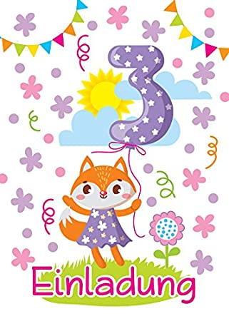 6 Einladungskarten 3. Kindergeburtstag Mädchen Tiere Dritte Geburtstag  Geburtstagseinladungen Einladungen Geburtstags Party Kartenset Fuchs