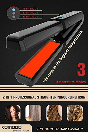 Cordless Hair Straightener,2 in 1 Straightening & Curling Iron, Mini Flat Iron for Hair with 3 Levels Adjustable Temperature , Rechargeable Battery Operated